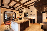 Large kitchen in Spanish villa
