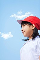 Profile of elementary school girl standing, Japan