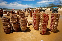 Fish baskets in the coast of Vietnam, Asia