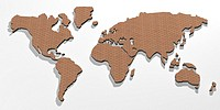 world map with wood texture 3d illustration