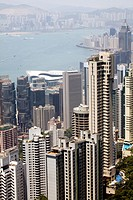 Hong Kong city view, skyscrapers at the skyline