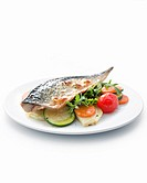 Mackerel salad with roasted vegetables.