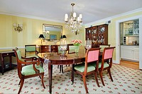 Dining room in luxury home with butler's pantry