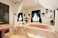Luxury master bath with step up tub