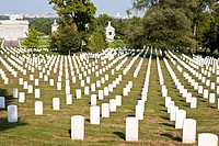 Rows of headstones in Arlington National Cemetery in Arlington, Virginia, USA
