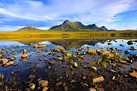Evening, evening mood, Ben Loyal, mountains, mountains, bodies of water, summits, peaks, Great Britain, Highland, highlands, scenery, hole, Lochan Hak...