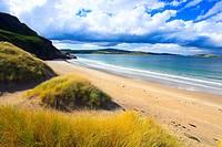 Evening, bay, Coldbackie, Coldbackie Bay, cliff, rock, body of water, Great Britain, Highland, highlands, coast, scenery, light, sea, seashore, nature...