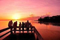 People, fishing, Fishing, Pier, Bayport Park, Dusk, Pine Island, near Spring Hill, Florida, USA, United States, America, sunset