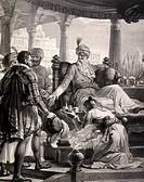 Vasco da Gama in Calicut, India. Historical artwork of the Portuguese explorer Vasco da Gama 1460_1524, left being granted a second audience by the Za...