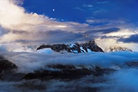 Mont Blanc in the clouds, France (thumbnail)