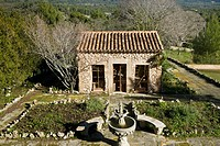 Stone cottage in Mediterranean countryside
