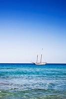 Sailboat in Mediterranean Sea