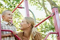 Mother and son on a playground