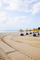 Beach umbrellas at beach on Mediterranean Coast (thumbnail)