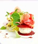 Salad of goats cheese, parma ham and beetroot