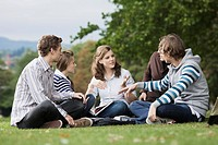 Students having study group on grass (thumbnail)