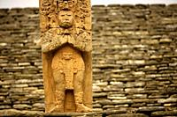 A stela representing the king Zots Choj Muan at the ancient Mayan city of Tonina, Ocosingo, Chiapas, Mexico
