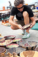 Man shopping for local handicrafts