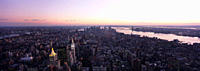 Panoramic Aerial shot of Midtown Manhattan at dusk looking south towards Lower Manhattan