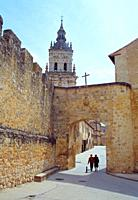 City walls gate and cathedral. El Burgo de Osma, Soria province, Castilla Le&#243;n, Spain