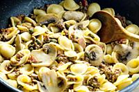 pasta orecchiette with bacon and champignons