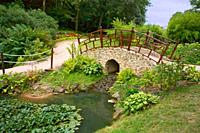 France, 85, Poitevin, garden bridge over the pond