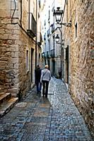 Cobbled street, Jewish Quarter, Girona, Catalonia, Spain.