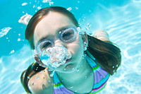 USA Florida, St. Pete Beach, Underwater shot of girl 8_9 diving