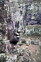 stone heads in Bayon temple  Angkor Thom  Angkor temples, Cambodia, Asia