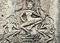 devadas dancers bas-relief in Angkor Thom  Angkor temples, Cambodia, Asia