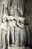 sculpted image in Angkor Wat temple  Cambodia, Asia