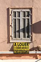 To Let Sign on House, France Cannes, A Louer