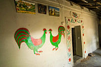 A house from an ethnic Shautal village in Dinajpur, decorated with wall paintings Rajshahi, Bangladesh September, 2007