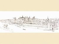 View of Hampton Court Palace from the Thames in the reign of Queen Mary I  After a drawing made by Antonius Wynegaarde for King Philip II of Spain  Fr...