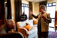 Bangladeshi Nobel Peace Prize Laureate Prof Muhammad Yunus meets Nelson Mandela, former president of South Africa, leader of the African National Cong...