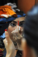 An Odissi dancer from Sutra Dance Academy, Malaysia, getting ready for performance, on the annual Konark Dance and Music Festival, held from February ...