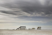 Stilt houses at beach, St. Peter Ording, Schleswig_Holstein, Germany