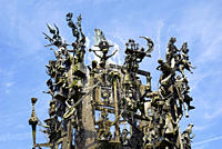 Fastnachtsbrunnen fountain, monument on Schillerplatz square, Old Town, Mainz, Rhineland_Palatinate, Germany