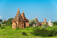 Panoramic view of ancient temples and pagodas, Bagan, Myanmar