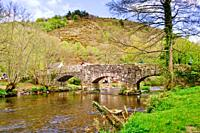 Fingle Bridge over the River Teign in Dartmoor National Park, Devon, England, United Kingdom