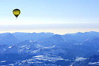 Hot_air balloon flying above Dolomites with Antelao, Averau, Nuvolau and Pelmo, aerial photo, Dolomites, South Tyrol, Italy, Europe