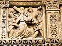 Relief depicting Christ on the Way to Calvary, 16th century plateresque main front by Felipe Bigarny of the Church of Santo Tomas, Haro, Upper Rioja, ...
