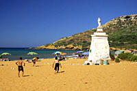 Holidays, beach at the Rambla Bay, Gozo Island, Malta, Mediterranean, Europe