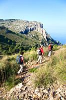 Hikers on Majorca mountains, Estellencs, Spain