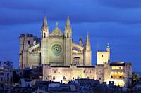 Cathedral of Palma at dusk, Majorca, Spain