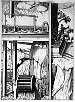 Illustration from Theatrum Machinarum Novum 1661 by Georg Andreas Böckler, A water powered irrigation pump  Three pumps are being operated at the same...