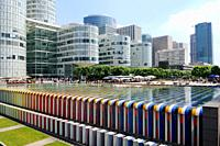 Coeur D&#233;fense, la fontaine Agam, buildings of the business sector Paris La D&#233;fense, Paris, France