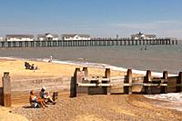 People relax on the beach in Southwold , Suffolk , England , Great Britain , Uk