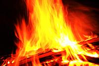 Log fire, close-up, Germany, Hessen, Ruedesheim