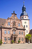Market square with town hall and town hall tower, Ettlingen, Baden_Wuerttemberg, Germany, Europe